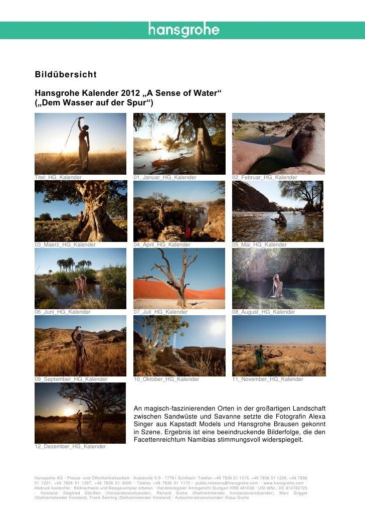 """BildübersichtHansgrohe Kalender 2012 """"A Sense of Water""""(""""Dem Wasser auf der Spur"""")Titel_HG_Kalender                       ..."""