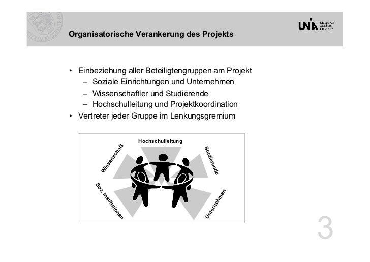 Organisatorische Verankerung des Projekts• Einbeziehung aller Beteiligtengruppen am Projekt    – Soziale Einrichtungen u...