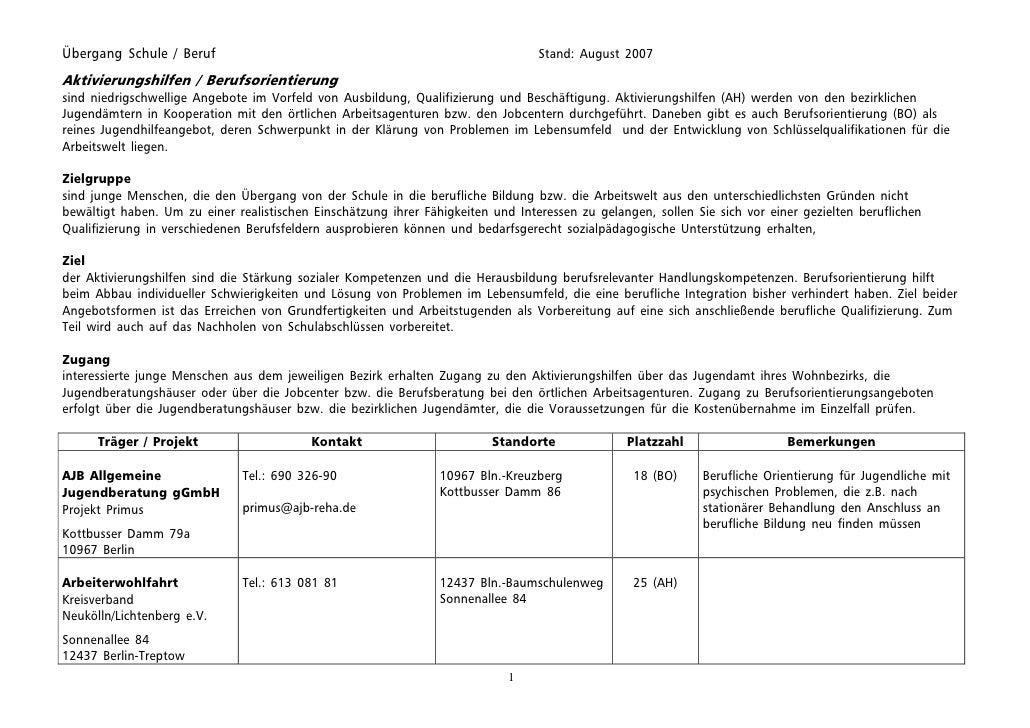 Übergang Schule / Beruf                                                           Stand: August 2007  Aktivierungshilfen /...