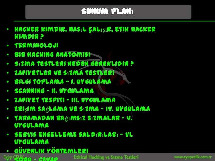 • Hacker kimdir, nasıl çalışır, etik hacker  kimdir ?• Terminoloji• Bir hacking anatomisi• Sızma testleri neden gereklidir...