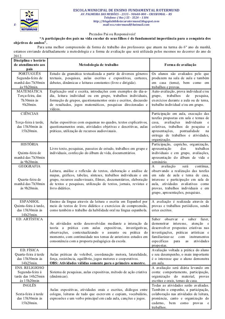ESCOLA MUNICIPAL DE ENSINO FUNDAMENTAL ROTERMUND                                            AV. PALMEIRA DAS MISSÕES – 233...