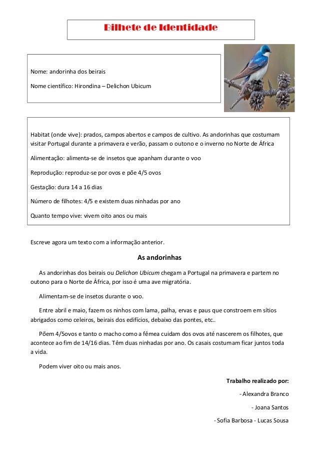 Bilhete de Identidade Nome: andorinha dos beirais Nome científico: Hirondina – Delichon Ubicum Habitat (onde vive): prados...