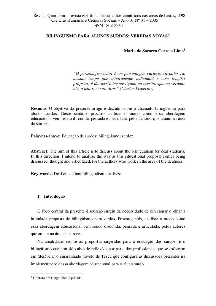 Revista Querubim – revista eletrônica de trabalhos científicos nas áreas de Letras, 198              Ciências Humanas e Ci...