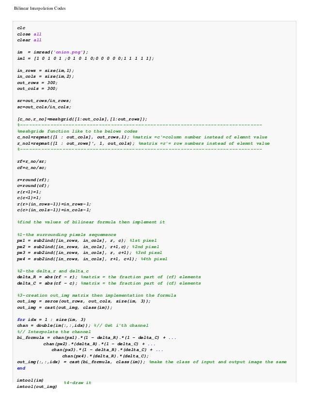 Bilinear interpolation codes