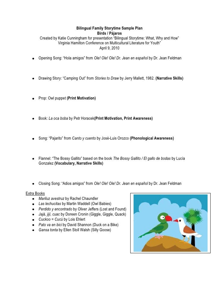"Bilingual Family Storytime Sample Plan<br />Birds / Pájaros<br />Created by Katie Cunningham for presentation ""Bilingual S..."
