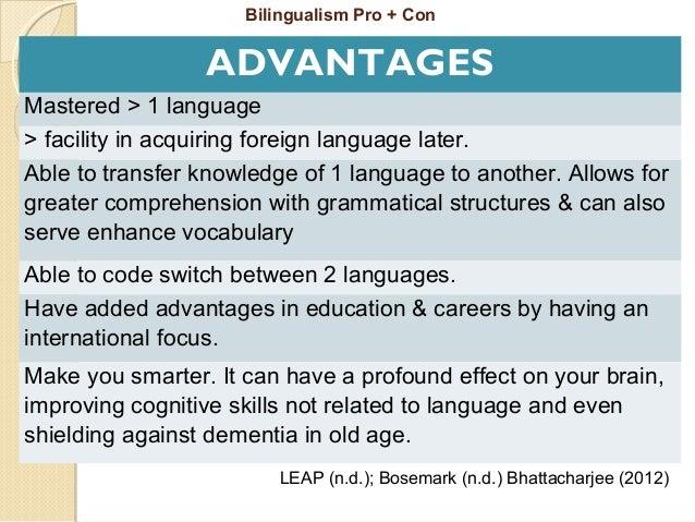 Bilingualism and multilingualism essays