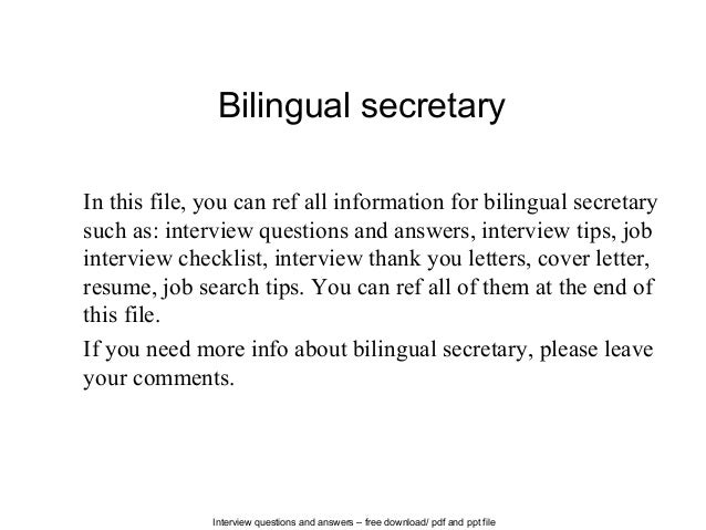Interview Questions And Answers U2013 Free Download/ Pdf And Ppt File Bilingual  Secretary In This ...  Cover Letter Job Searchsecretary Cover Letter