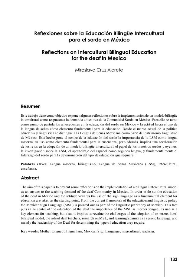 Reflexiones sobre la Educación Bilingüe Intercultural                       para el sordo en México              Reflectio...
