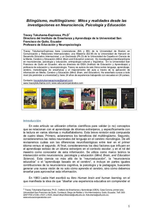 Bilingüismo, multilingüismo: Mitos y realidades desde las       investigaciones en Neurociencia, Psicología y EducaciónTra...