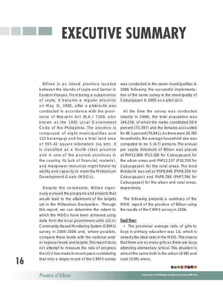 executive summary of mdgs Executive summary  there is a global learning crisis with many poor quality schools and very worrying trends in learning, even in basic skills such as reading, writing and maths furthermore, it is the poorest and most marginalised who are most likely to be failed by poor quality schooling educational inequity remains a major issue.