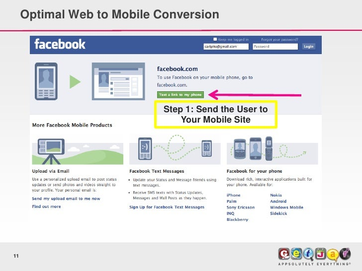 Optimal Web to Mobile Conversion                                 Step 1: Send the User to                                 ...