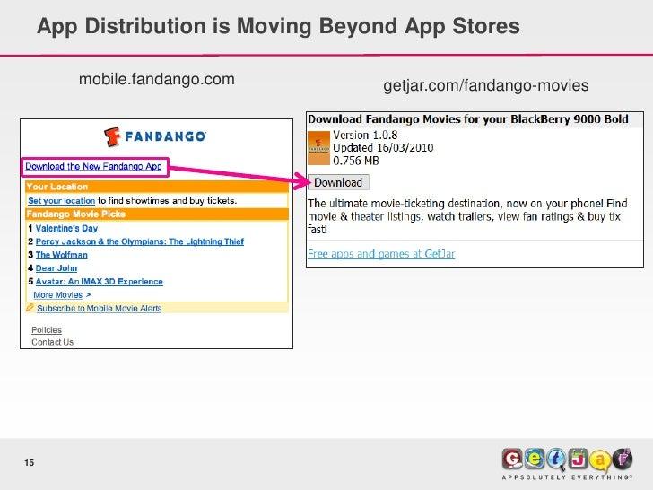 App Distribution is Moving Beyond App Stores          mobile.fandango.com         getjar.com/fandango-movies     15