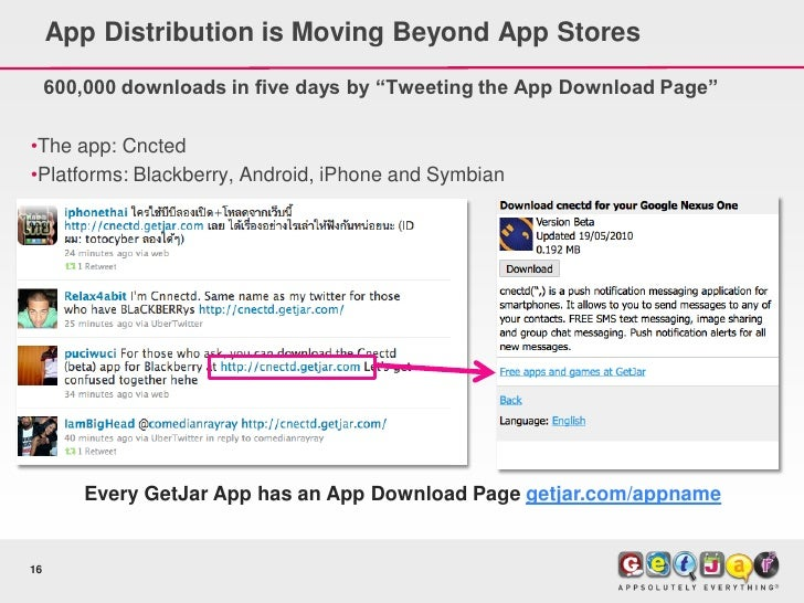 """App Distribution is Moving Beyond App Stores      600,000 downloads in five days by """"Tweeting the App Download Page""""  •The..."""