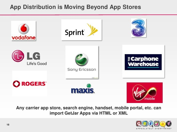 App Distribution is Moving Beyond App Stores            Any carrier app store, search engine, handset, mobile portal, etc....