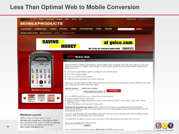 Less Than Optimal Web to Mobile Conversion     9
