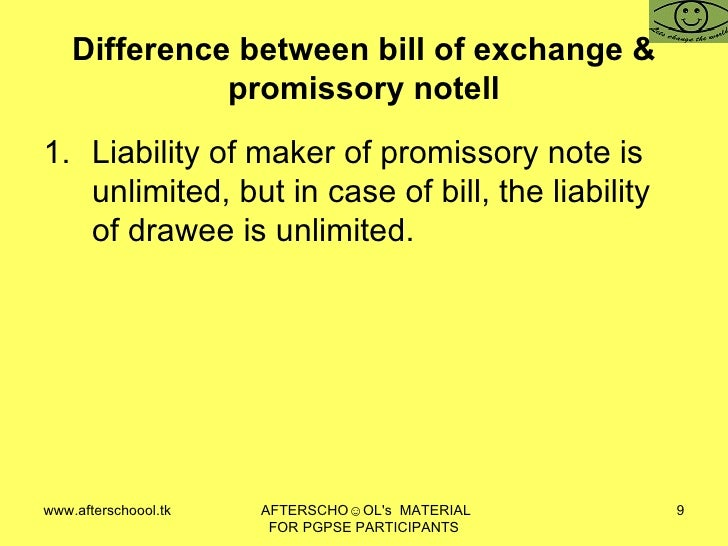 difference between promissory note and bill of exchange pdf