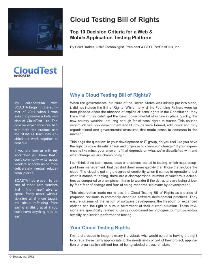 Cloud Testing Bill of Rights                                                Top 10 Decision Criteria for a Web ...