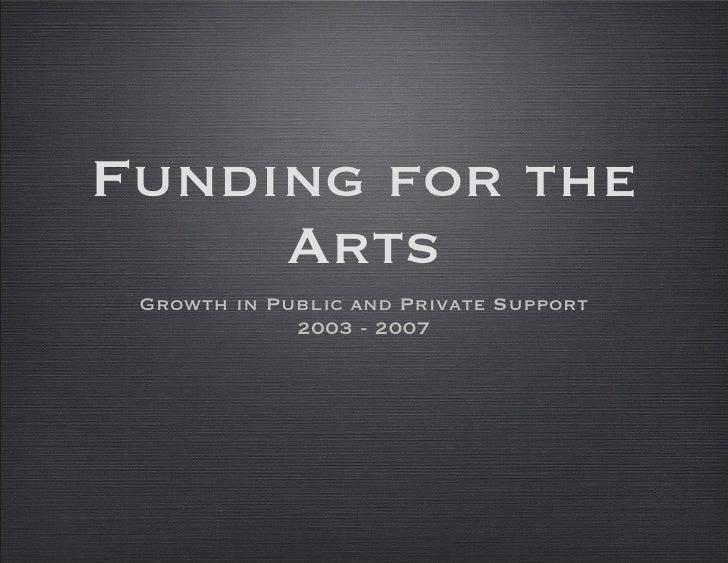 Funding for the Arts <ul><li>Growth in Public and Private Support </li></ul><ul><li>2003 - 2007 </li></ul>