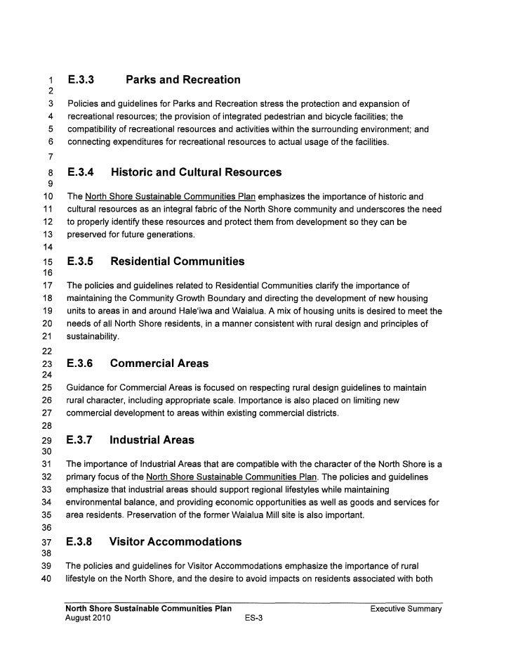 North Shore Sustainable Communities Plan (CD1)