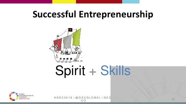 # G E C 2 0 1 6   @ G E C G L O B A L   G E C . C O 13 Spirit + Skills Successful Entrepreneurship