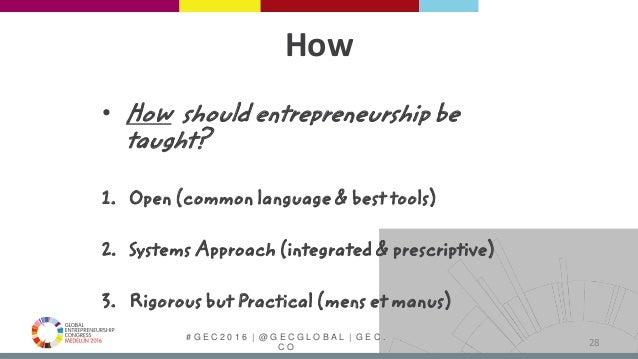 # G E C 2 0 1 6   @ G E C G L O B A L   G E C . C O How • How should entrepreneurship be taught? 1. Open (common language ...