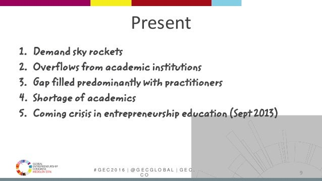 # G E C 2 0 1 6   @ G E C G L O B A L   G E C . C O Present 1. Demand sky rockets 2. Overflows from academic institutions ...