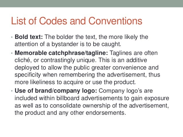 Codes and Conventions of a Billboard