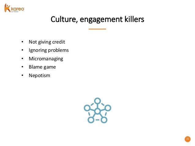 21 Culture, engagement killers • Not giving credit • Ignoring problems • Micromanaging • Blame game • Nepotism