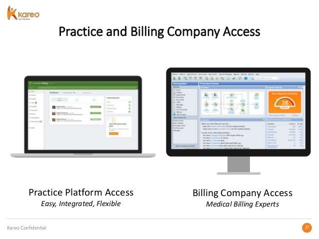Kareo Confidential 2727 Practice and Billing Company Access Practice Platform Access Easy, Integrated, Flexible Billing Co...