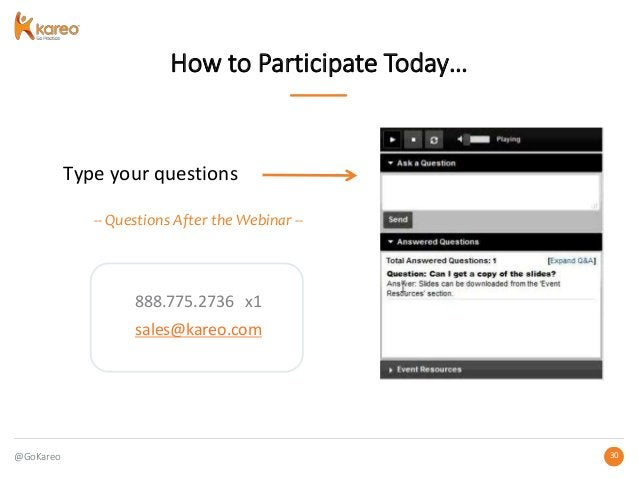 @GoKareo 3030 How to Participate Today… Type your questions -- Questions After the Webinar -- 888.775.2736 x1 sales@kareo....