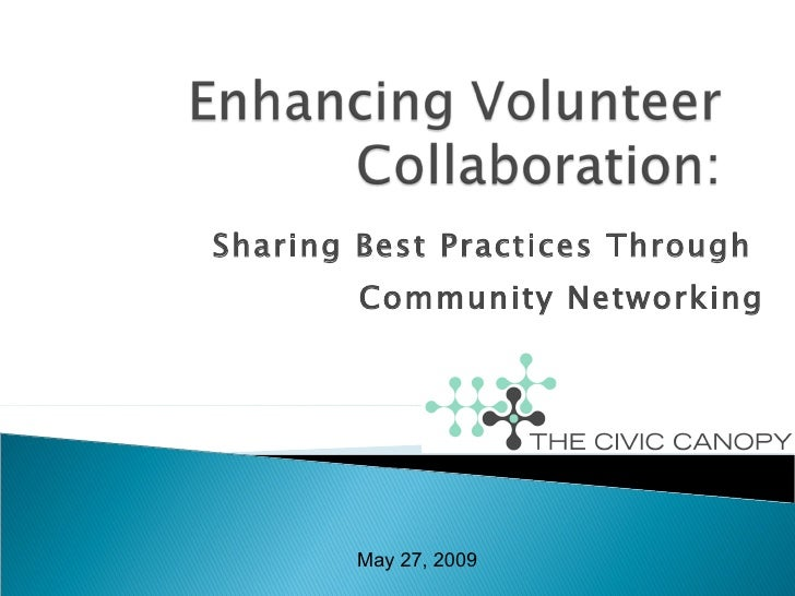 Sharing Best Practices Through  Community Networking May 27, 2009