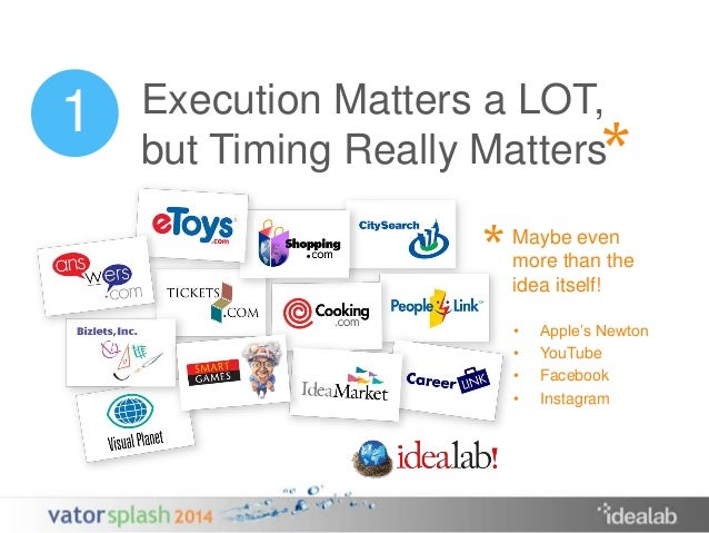 Execution Matters a LOT,  but Timing Really Matters  Maybe even  more than the  idea itself!  *  *  • Apple's Newton  • Yo...