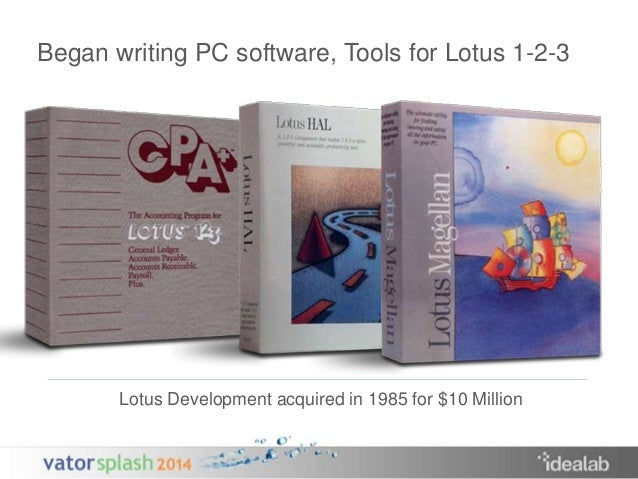 Began writing PC software, Tools for Lotus 1-2-3  Lotus Development acquired in 1985 for $10 Million