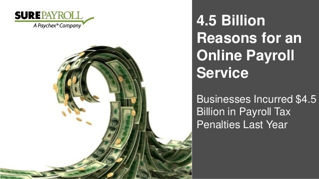 4.5 Billion Reasons for an Online Payroll Service Businesses Incurred $4.5 Billion in Payroll Tax Penalties Last Year