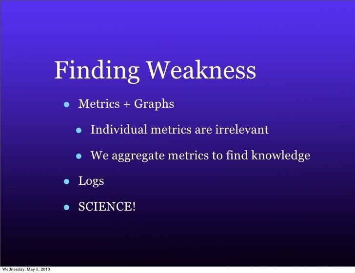 Finding Weakness                          •   Metrics + Graphs                               •   Individual metrics are ir...