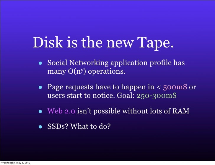 Disk is the new Tape.                          •   Social Networking application profile has                              ...