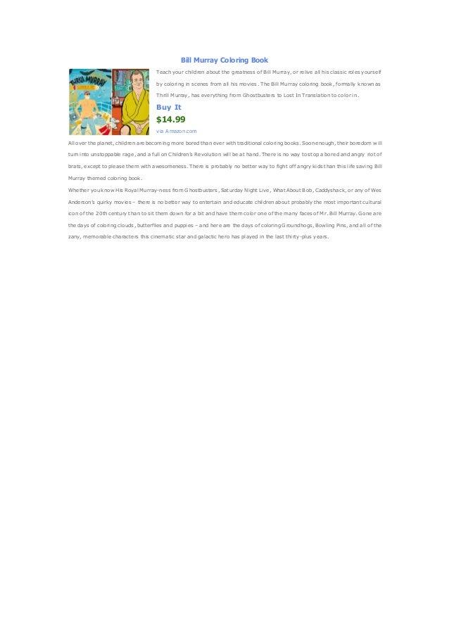 Bill murray coloring book amazon