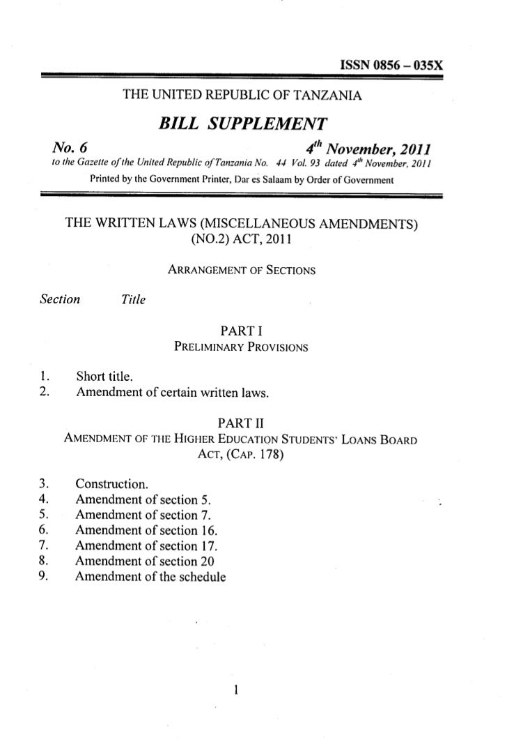 BILL SUPPLEMENT     No.6                                                          4th November, 2011     to the Gazette of...