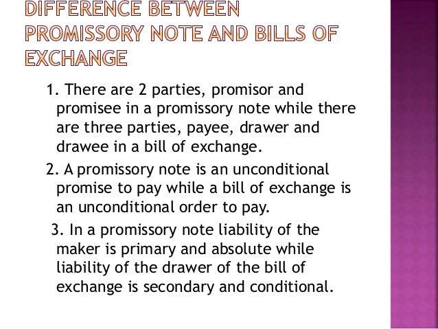 Bill of exchange – Promissory Note Parties