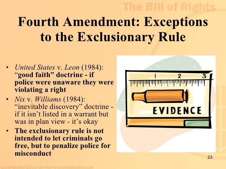 exceptions of the exclusionary rule the inevitability doctrine This brief, joined by the national association of criminal defense lawyers, examines the extent to which the exclusionary rule, requiring suppression of evidence collected.