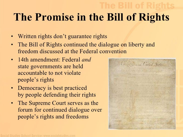 a discussion on the bill of rights The first 10 amendments to the constitution are known as the bill of rights, and their purpose is to establish personal liberties and put limits on government power the united states constitution was ratified in 1789, but not without opposition issues with the constitution first arose at the .