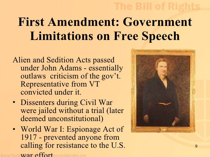 first amendment bill of rights The first amendment protects the privacy of beliefs the third  for example, the  supreme court first recognized that the various bill of rights.