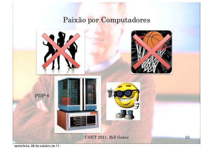 Paixão por Computadores              PDP-8                                        CSNT 2011, Bill Gates   10sexta-feira, 2...