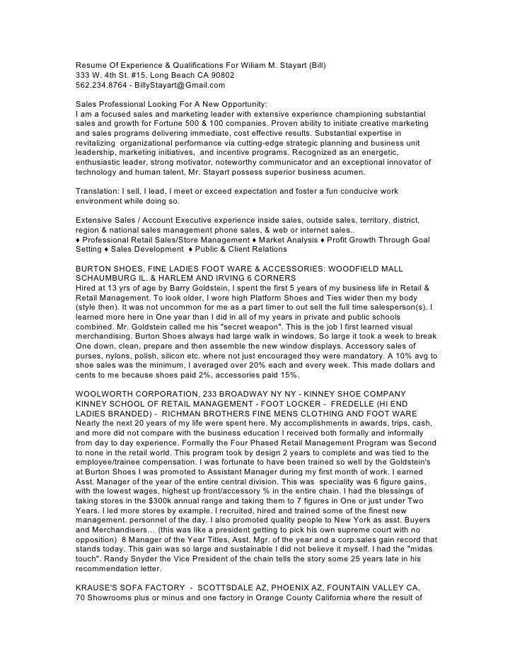 Resume Of Experience & Qualifications For Wiliam M. Stayart (Bill)333 W. 4th St. #15, Long Beach CA 90802562.234.8764 - Bi...