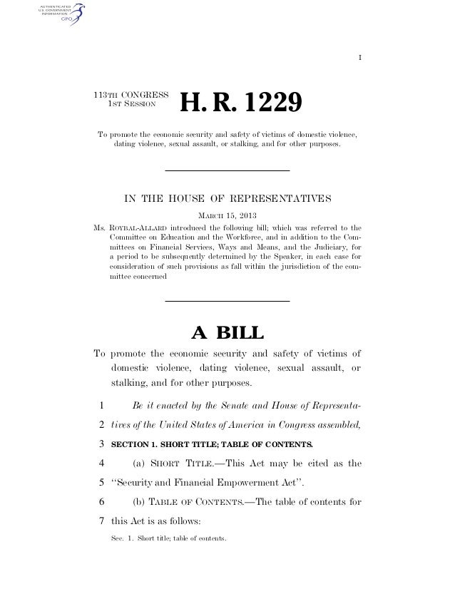 I 113TH CONGRESS 1ST SESSION H. R. 1229 To promote the economic security and safety of victims of domestic violence, datin...
