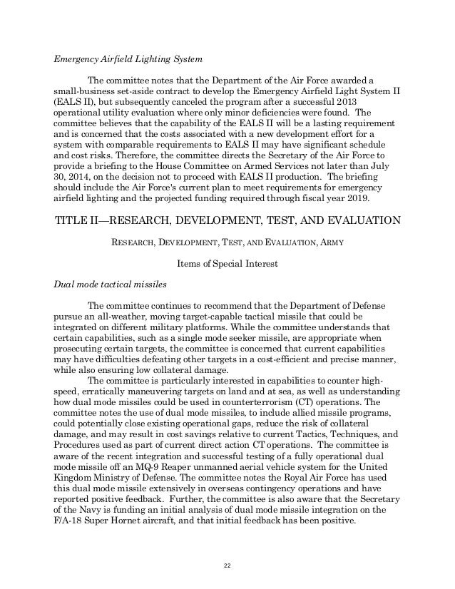 HR 4435 Tactical Air and Land ForcesFY2015 Defense