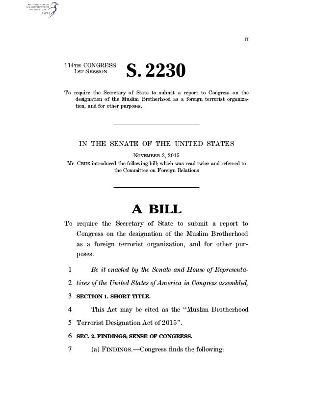 II 114TH CONGRESS 1ST SESSION S. 2230 To require the Secretary of State to submit a report to Congress on the designation ...