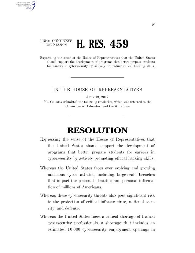 IV 115TH CONGRESS 1ST SESSION H. RES. 459 Expressing the sense of the House of Representatives that the United States shou...