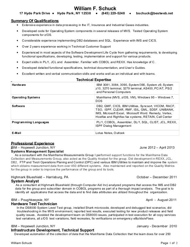 sample resume for 2 years experience in mainframe - bill schuck mainframe programmer 2013 resume