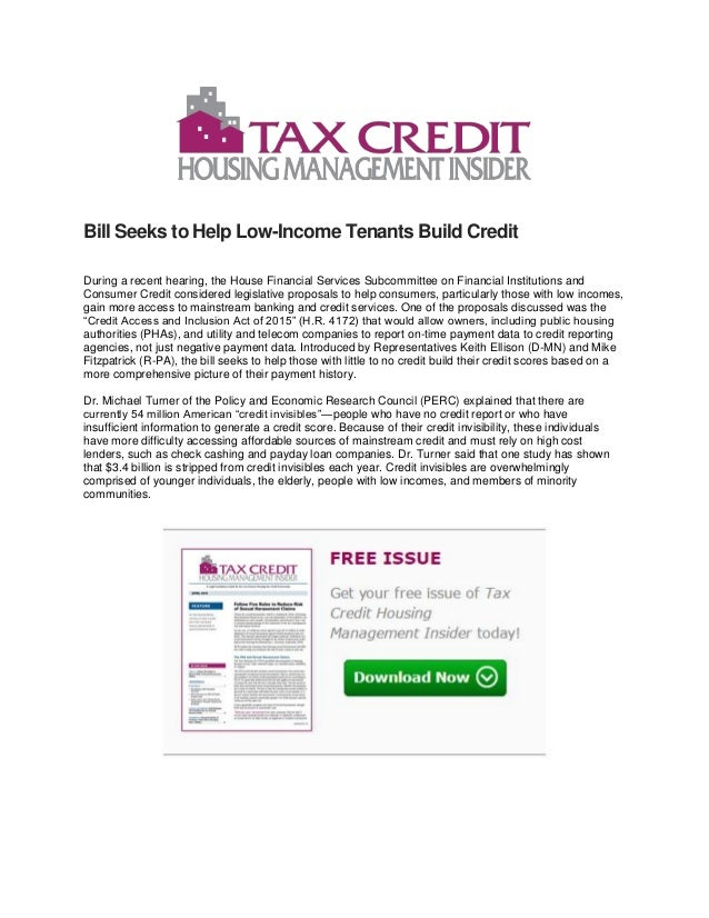 Bill Seeks to Help Low-Income Tenants Build Credit During a recent hearing, the House Financial Services Subcommittee on F...